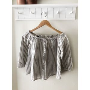 Madewell Stripped Off Shoulder Top